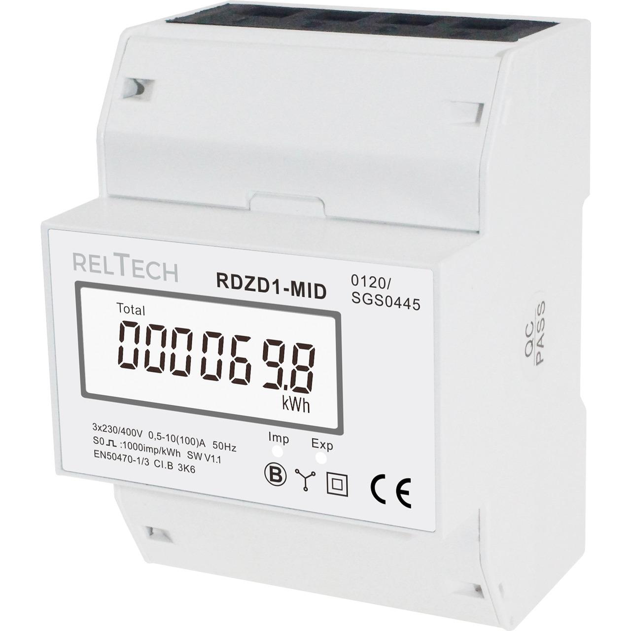 Reltech Drehstromzähler digital RDZD1-MID- 100 A- MID-geeicht- 4 TE