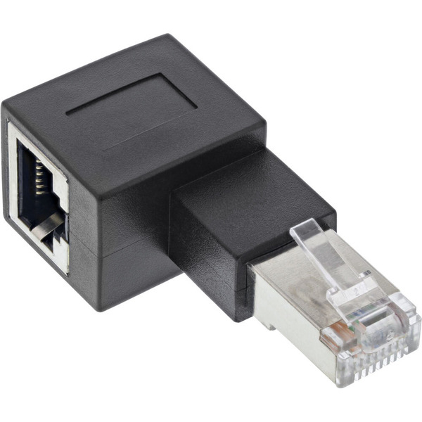 InLine RJ45-Adapter Cat.6a, RJ45-Stecker/-Buchse, 90° nach links gewinkelt