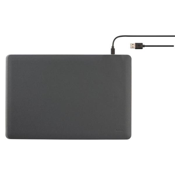 "hama Mauspad ""Wireless Charging"", integrierte 5-W-Qi-Ladefläche, PU-Material, inkl. Micro-USB-Kabel"