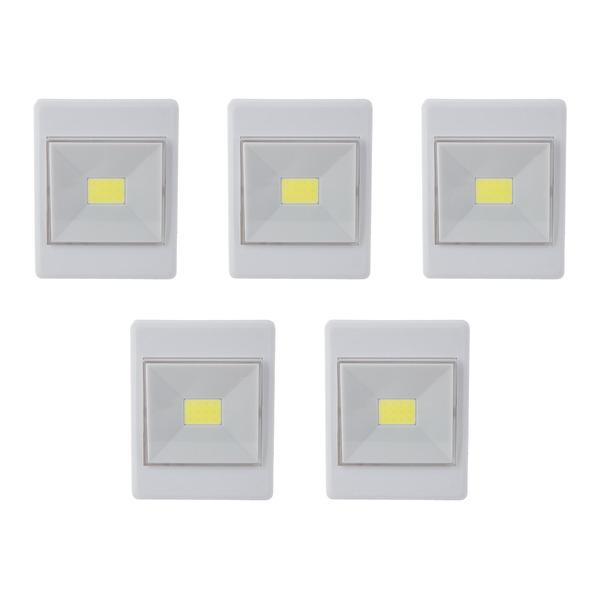 HEITRONIC 5er-Spar-Set LED-Orientierungslicht, 150 lm, Batteriebetrieb, mit Schalter, warmweiß, IP20