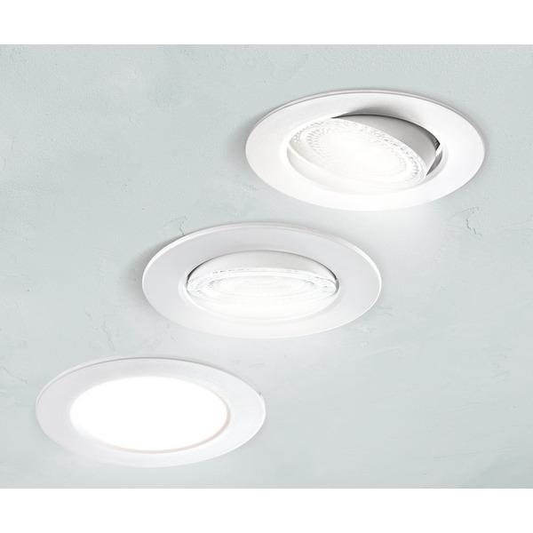 HEITRONIC 5,5-W-LED-Einbaustrahler DL7002, austauschbare Kunststoffringe, schwenkbar, 3000 K, IP44