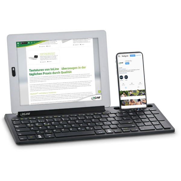 InLine 4-in-1-Tastatur, Bluetooth, mit Nummernpad, Aluminium, schwarz