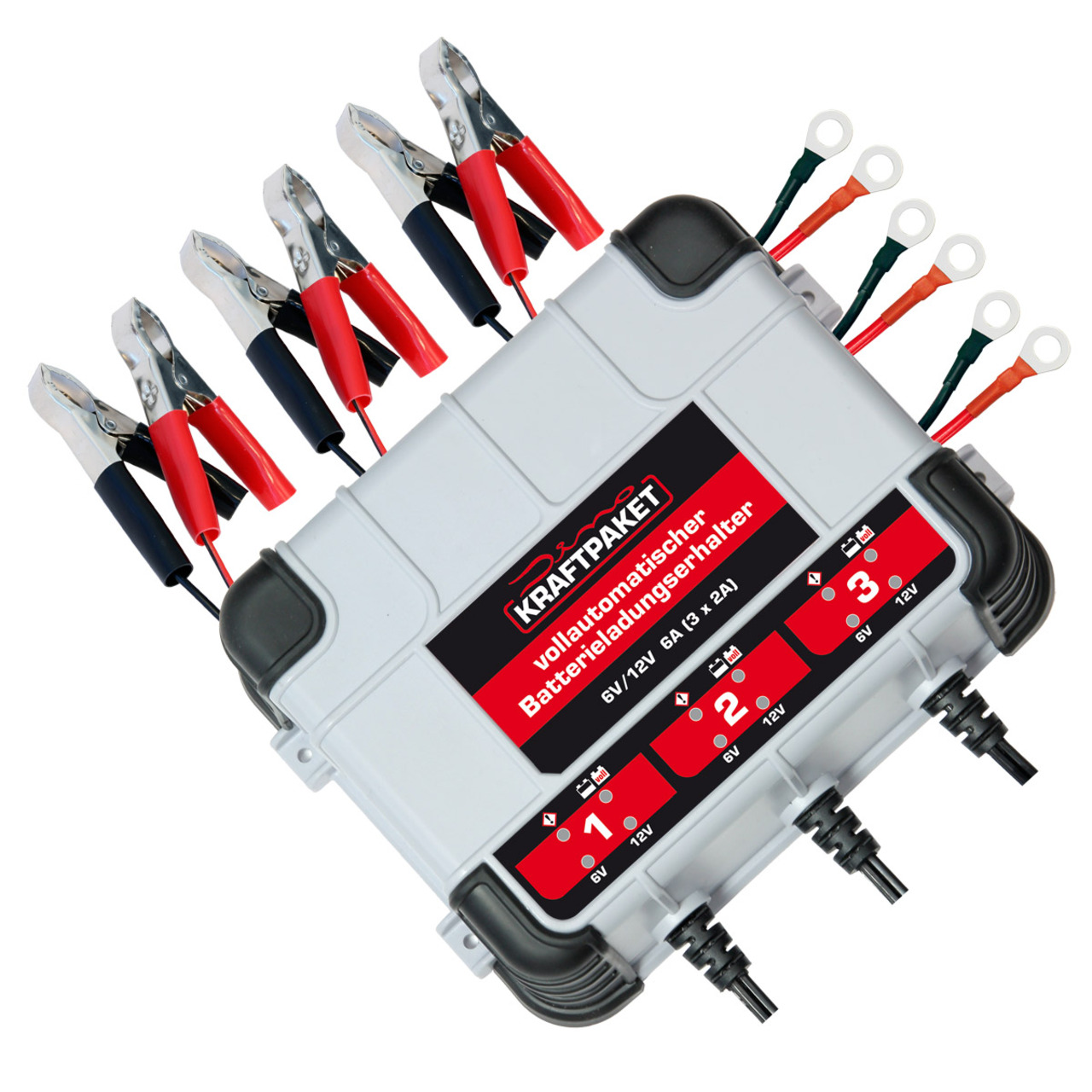 Dino KRAFTPAKET Kfz-Batterie-Erhaltungsladegerät 6V-12V 3x 2A