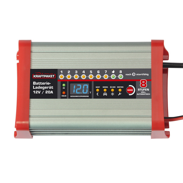 Dino KRAFTPAKET Kfz-Batterieladegerät, für 12-V-Batterien, 20 A,  Nacht- und Camping-Funktion