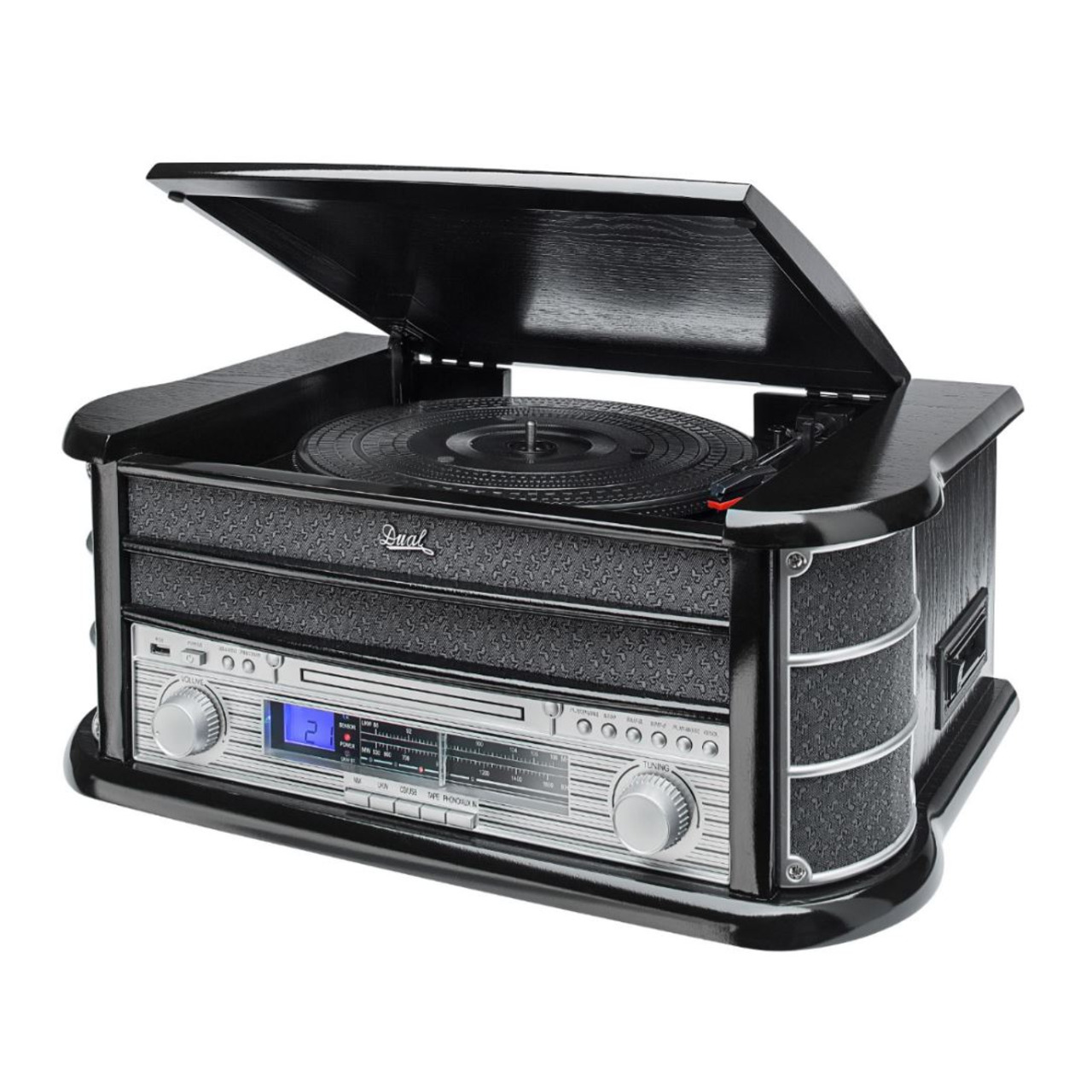 Dual Nostalgie-Stereo-Musikcenter NR 4- UKW-Radio- USB- CD-Player- Kassettenlaufwerk- schwarz