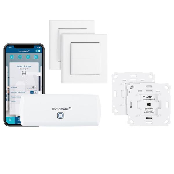 Homematic IP Starter Set Beleuchtung mit WLAN-HAP, 2x Schalt-Mess-Aktor und 2x Tasterwippe