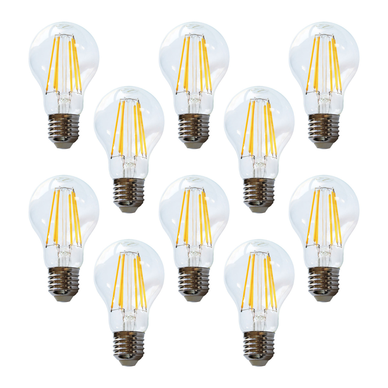 HEITEC 10er-Spar-Set 8-W-Filament-LED-Lampe A60- E27- 810 lm- warmweiss- klar