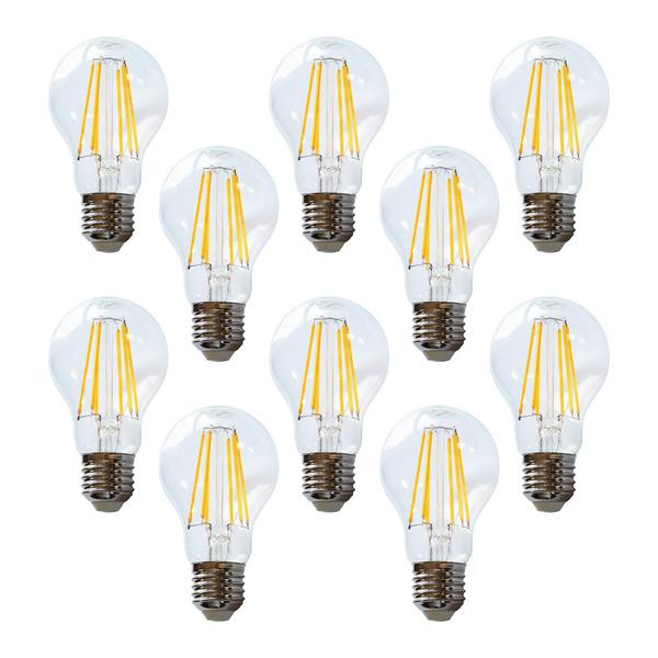 10er-Spar-Set HEITEC 12-W-Filament-LED-Lampe A60, E27, 1050 lm, warmweiß, klar