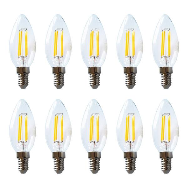 HEITEC 10er-Spar-Set 4,5-W-Filament-LED-Kerzenlampe, E14, 420 lm, warmweiß, klar