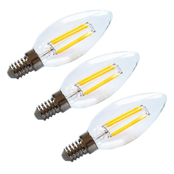 HEITEC 3er-Spar-Set 4,5-W-Filament-LED-Kerzenlampe, E14, 420 lm, warmweiß, klar