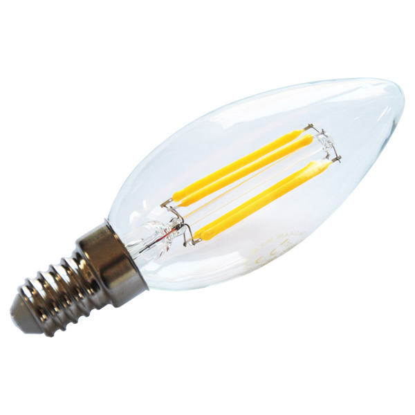 HEITEC 4,5-W-Filament-LED-Kerzenlampe, E14, 420 lm, warmweiß, klar