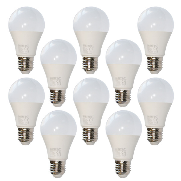 10er-Spar-Set HEITEC 7-W-LED-Lampe A60, E27, 600 lm, warmweiß, matt