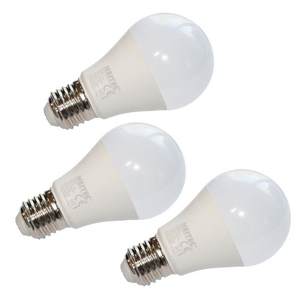 3er-Spar-Set HEITEC 7-W-LED-Lampe A60, E27, 600 lm, warmweiß, matt