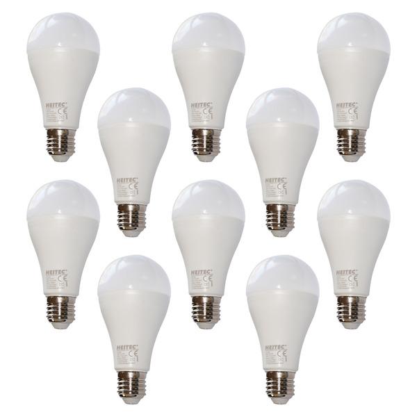 HEITEC 10er-Spar-Set 20-W-LED-Lampe A65, E27, 1800 lm, warmweiß, matt