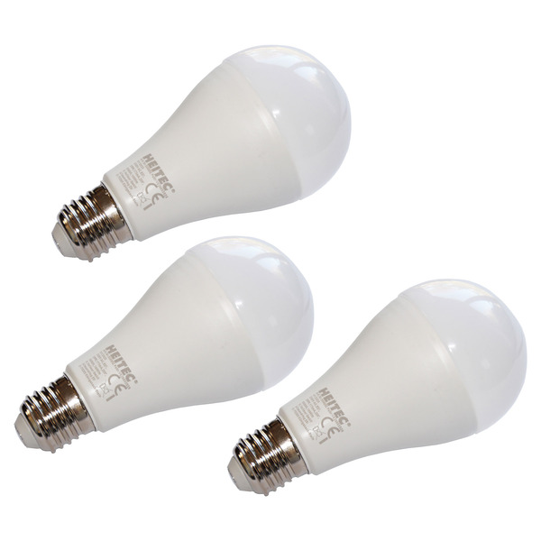 3er-Spar-Set HEITEC 20-W-LED-Lampe A65, E27, 1800 lm, warmweiß, matt