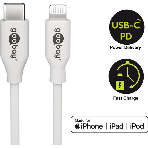 goobay Lightning auf USB-C™ Lade- und Synchronisationskabel, 1 m, unterstützt das Laden bis 87 W
