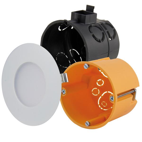 HEITRONIC 2-W-LED-Einbaupanel Nizza, passt in Schalter- und Hohlwanddosen, rund, weiß, IP20