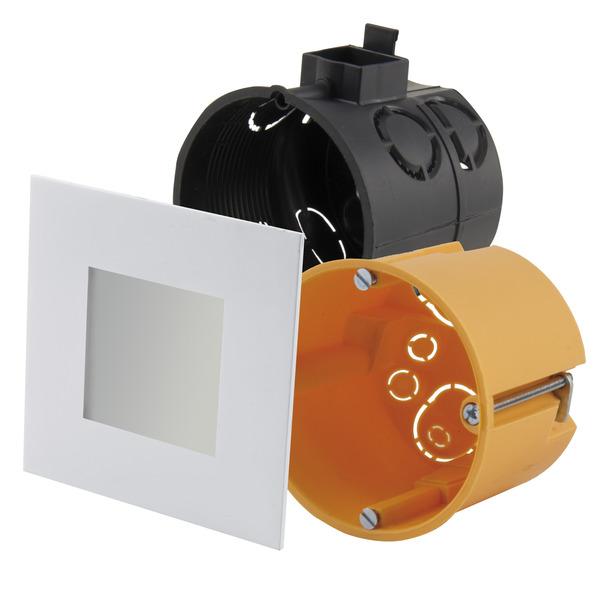 HEITRONIC 2-W-LED-Einbaupanel Nizza, passt in Schalter- und Hohlwanddosen, eckig, weiß, IP20