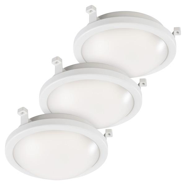 ELV 3er-Spar-Set 12-W-LED-Deckenleuchte, rund, IP54
