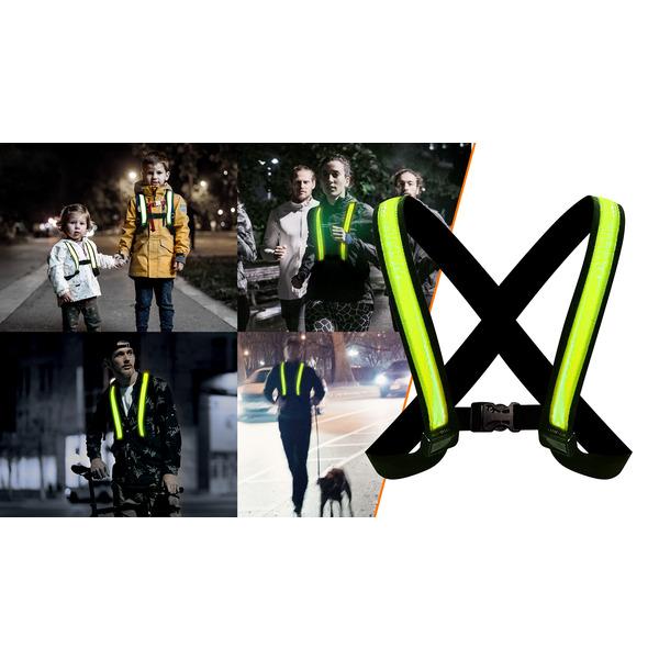 easypix LED-Leuchtweste StreetGlow, S/M, bis 100 m Sichtweite, reflektierend