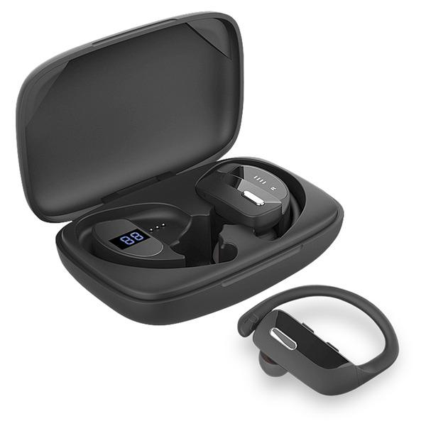 "Fontastic TWS-Sport-Kopfhörer ""Rave"", mit ergonomischen Ohrbügeln, 600-mAh-Ladebox"