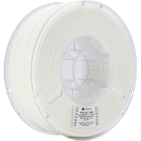 Polymaker Polylite ABS-Filament, weiß, 1,75 mm, 1 kg
