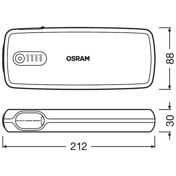 OSRAM Kfz-Starthilfegerät BATTERYstart 400, 12 V, 2000 A, 16.800 mAh, mit 12-V-Kfz-Adapter