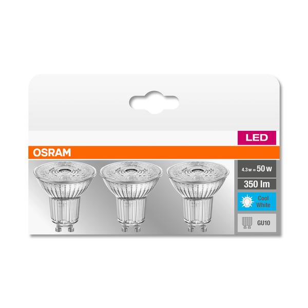 OSRAM 3er Set 4,3-W-LED-Lampe PAR51, GU10, 350 lm, neutralweiß, 36°