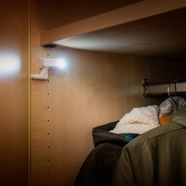 ChiliTec 4er-Set LED-Leuchte mit Drucktaster für Schubladen, Schränke, Kommoden - Batteriebetrieb