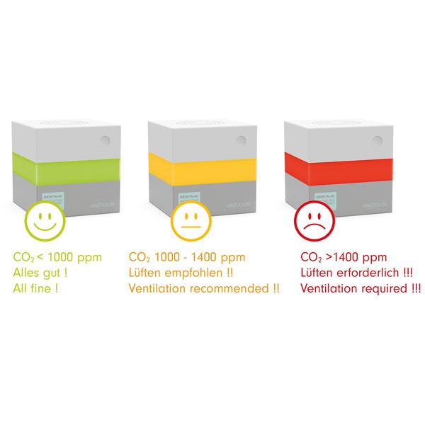 RENZ CO2-Messgerät / CO2-Anzeige AIR2COLOR, Kohlendioxid, 360°-Lichtband, Ampel-Anzeige