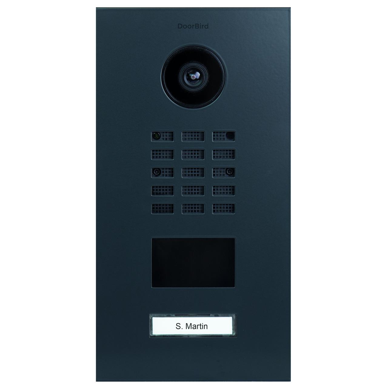 DoorBird LAN-Video-Türsprechanlage D2101V- Unterputz-Version- Edelstahl- seidenmatt- RAL7016