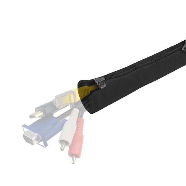 staywired Stoff-Kabelmantel, 120 cm, für bis zu 10 Kabel, doppelter Reißverschluss