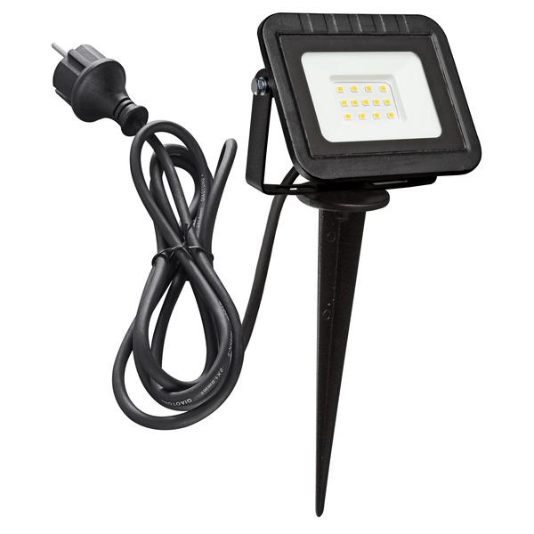 HEITRONIC 10-W-LED-Erdspießstrahler YORK, 3-m-Anschlussleitung mit Stecker, IP44, schwarz