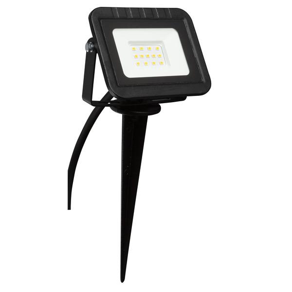 HEITRONIC 10-W-LED-Flutlichtstrahler YORK, mit Erdspieß, Anschlussleitung mit Stecker, IP44, schwarz