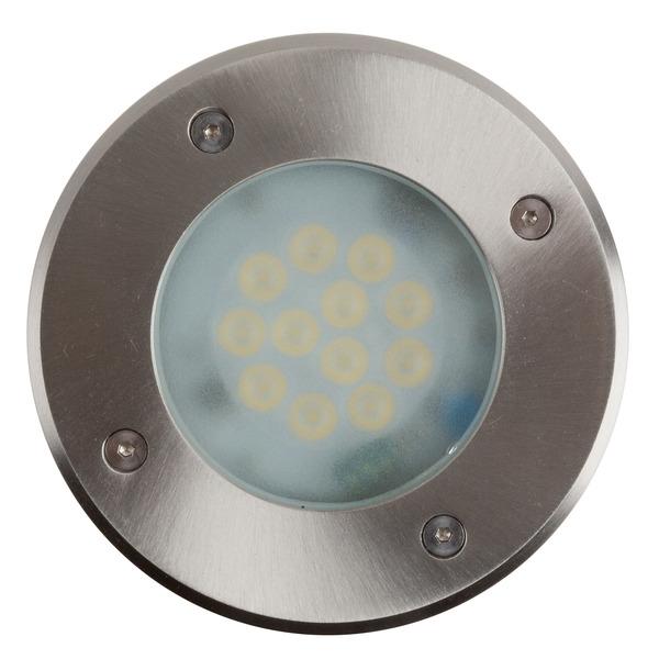 HEITRONIC 9-W-LED-Bodeneinbaustrahler Messina, warmweiß, IP67, durchschleifbar, begehbar, rund