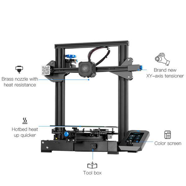 Creality3D FFF-3D-Drucker Ender 3 V2, Bausatz, automatische Resume-Funktion, Carborundum-Heizplatte
