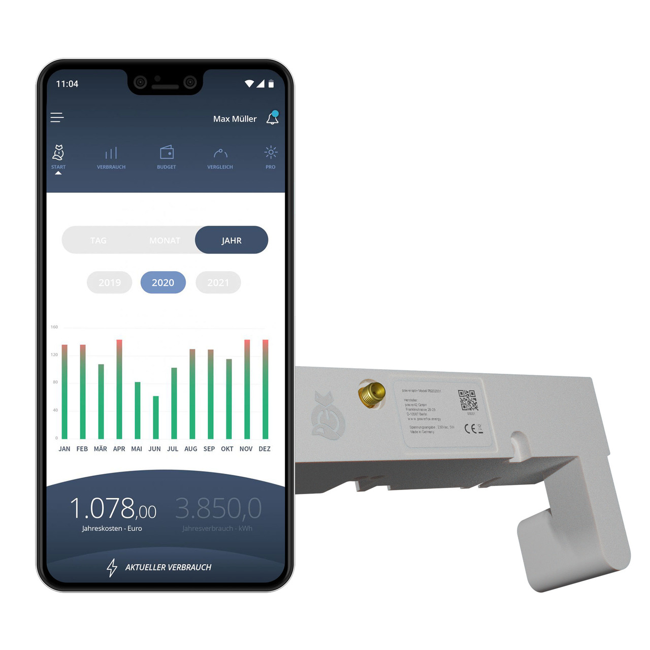 powerfox WLAN-Stromzählerausleser poweropti+ für eBZ und EasyMeter Zähler- inkl- Smartphone-App