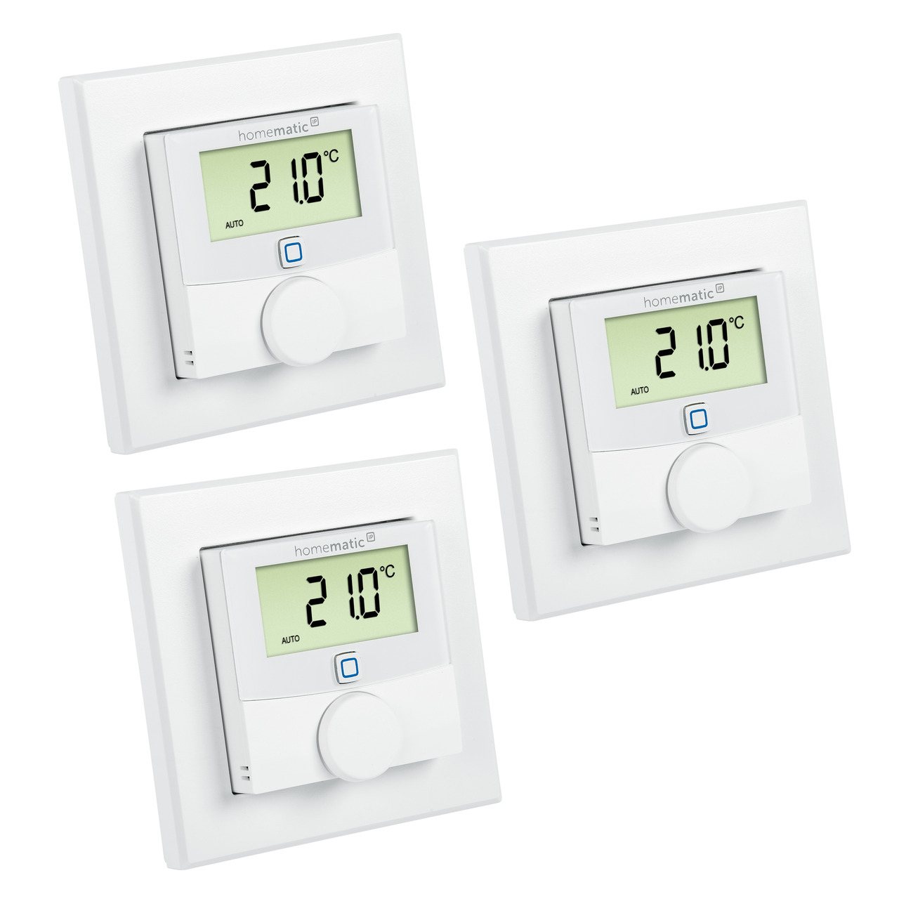Homematic IP Smart Home 3er Set Wandthermostat HmIP-WTH-2 mit Luftfeuchtigkeitssensor