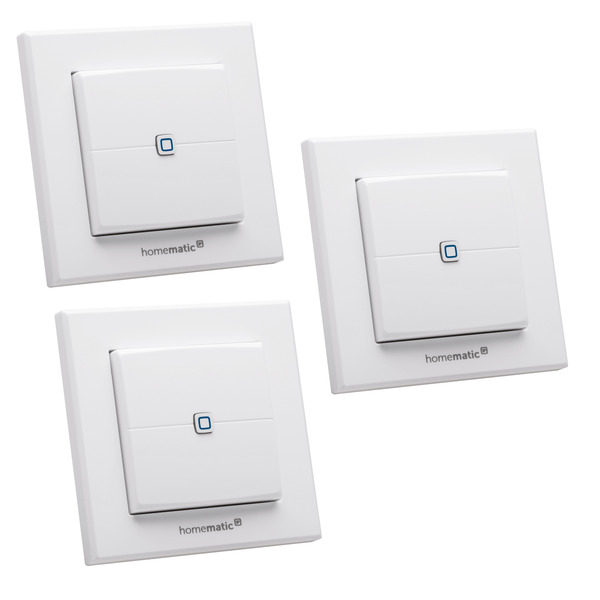 Homematic IP Smart Home 3er Set Wandtaster HMIP-WRC2, 2-fach