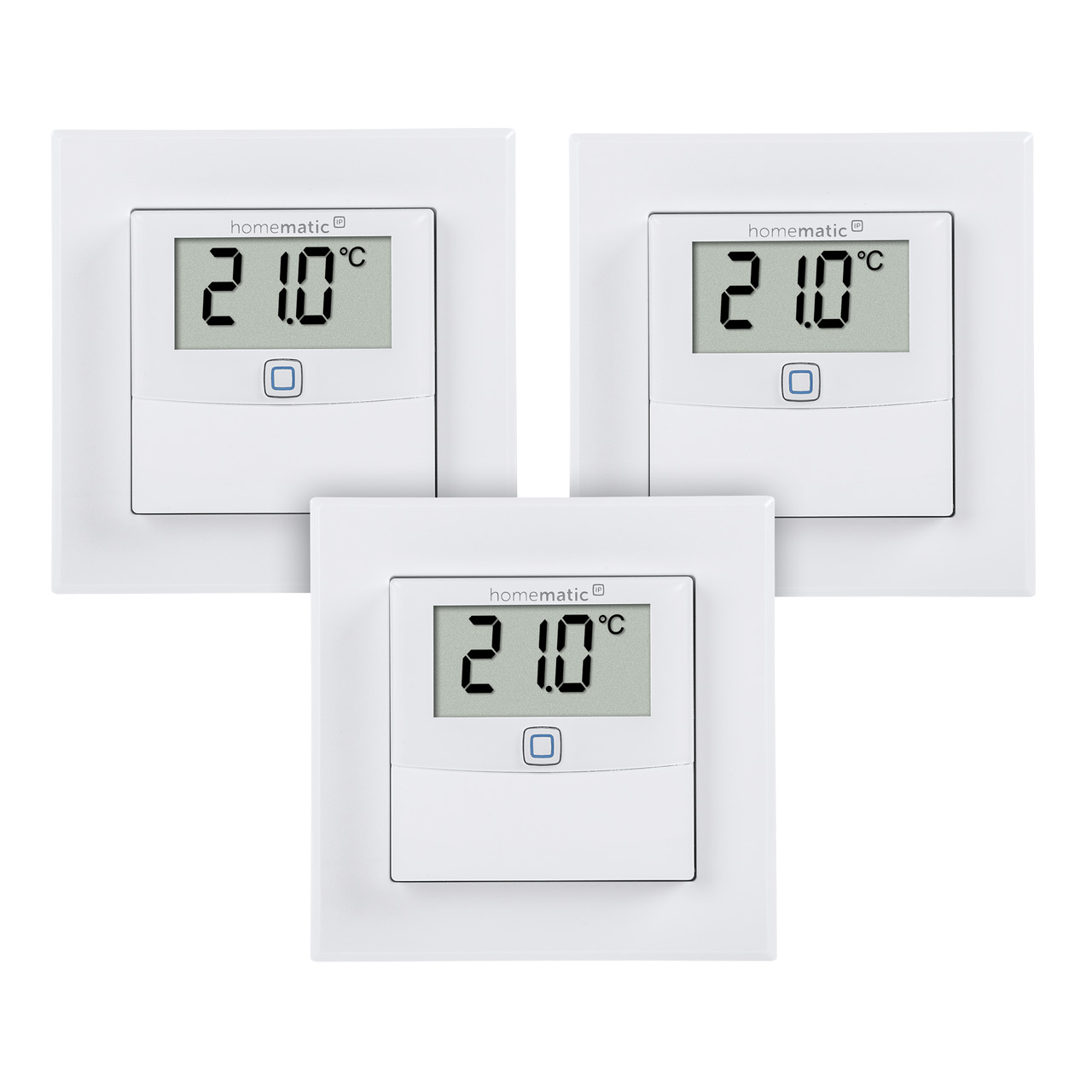 Homematic IP Smart Home 3er Set Temperatur- und Luftfeuchtigkeitssensor mit Display- innen