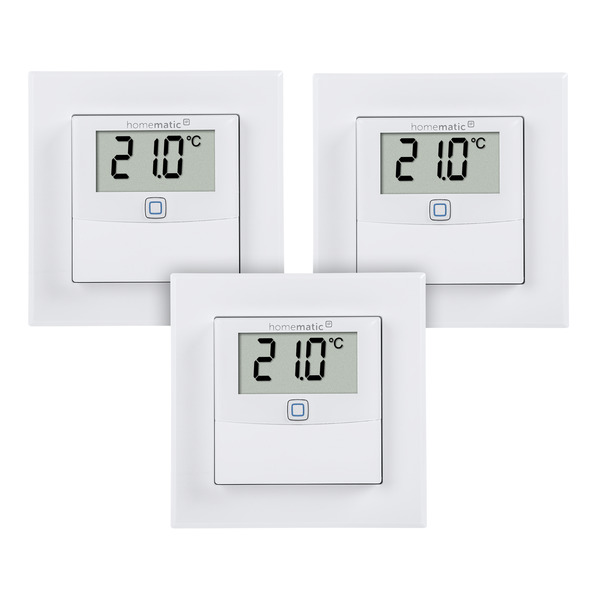 Homematic IP Smart Home 3er Set Temperatur- und Luftfeuchtigkeitssensor mit Display, innen