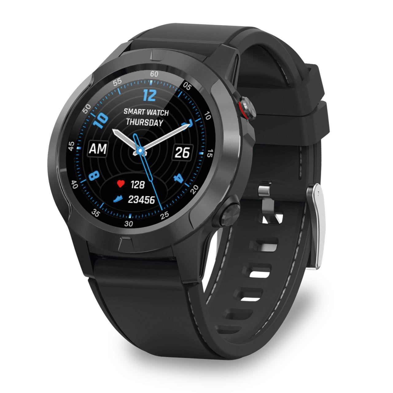 FontaFit Smartwatch 600CH EXPLOR- schwarz- mit GPS-Modul- Schlafüberwachung- IP67