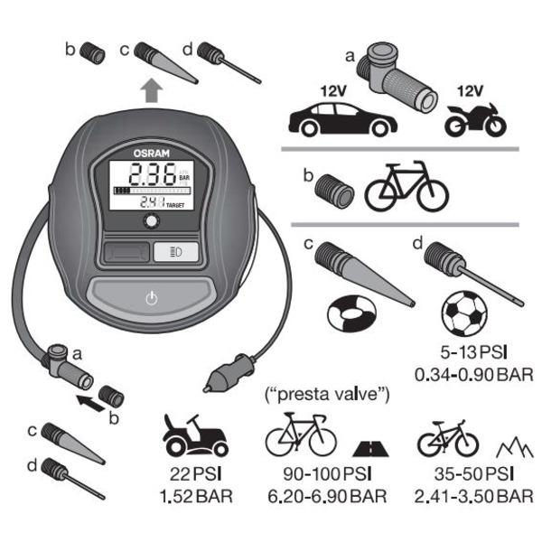 OSRAM Luftkompressor TYREinflate 1000, z. B. für Kfz-/Fahrradreifen, mit LC-Display, 180 W, 15 A