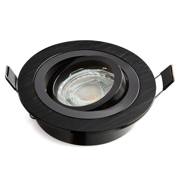 HEITRONIC Einbaufassung DL7801 für GU10 und GU5,3, Aluminium, schwenkbar, rund, schwarz
