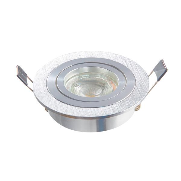 HEITRONIC Einbaustrahler DL7801 für GU10 und GU5,3, schwenkbar, rund, silber