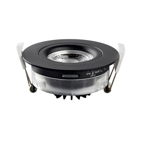 HEITRONIC 7-W-LED-Einbaustrahler DL6809, dimmbar, schwenk- und drehbar, IP44, schwarz