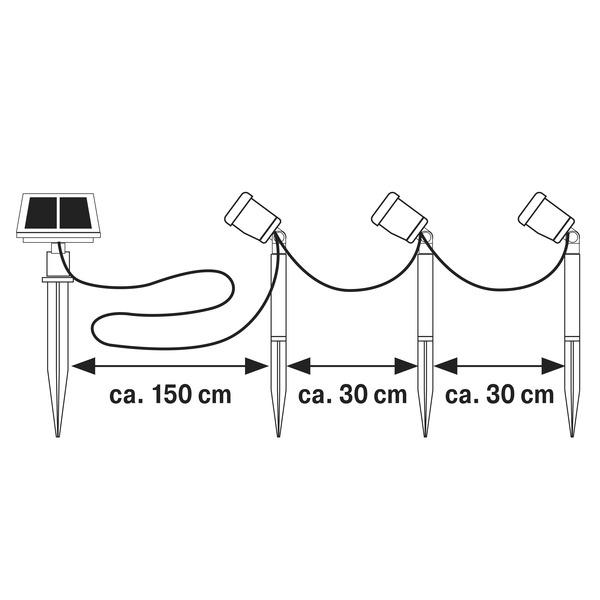 HEITEC Solar-LED-Spießleuchten-Set Thony, 13,3 lm pro Leuchte, 4000 K, IP44