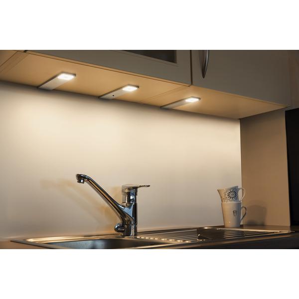 HEITRONIC 3er-Set LED-Unterbauleuchte Imola, warmweiß, erweiterbar auf bis zu 6 Spots