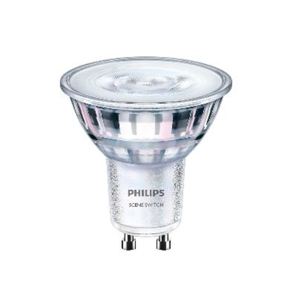 Philips 5-W-GU10-LED-Lampe LEDspot Sceneswitch, 345 lm, dimmbar, warmweiß