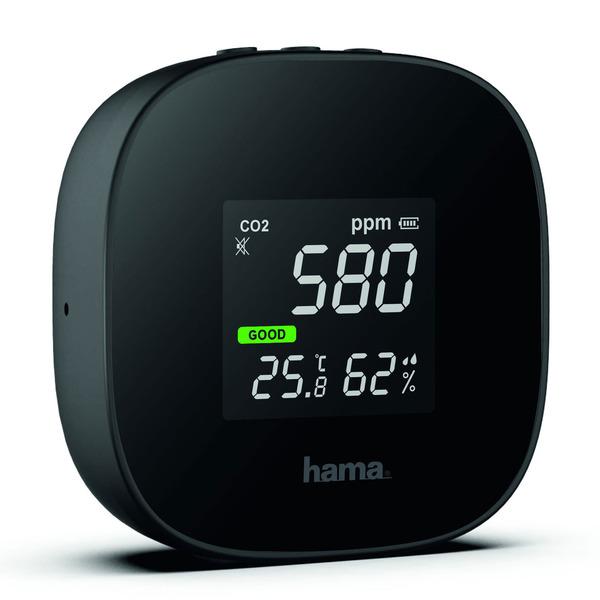 "hama CO2-Messgerät / CO2-Anzeige ""Safe"", Kohlendioxid, Ampel-Anzeige, mit integriertem Akku"
